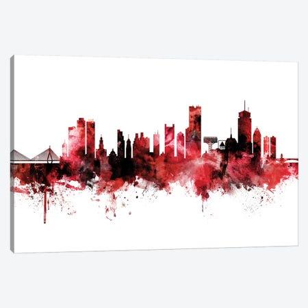Boston Skyline Red Black Canvas Print #MTO2234} by Michael Tompsett Canvas Art