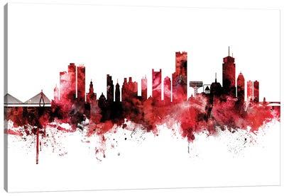 Boston Skyline Red Black Canvas Art Print