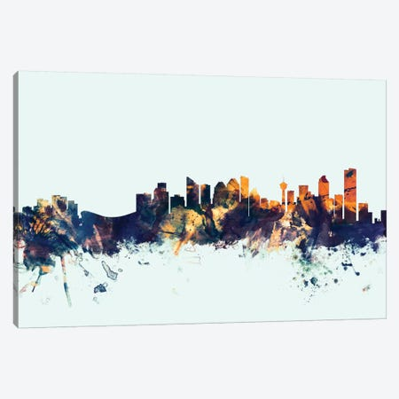 Calgary, Canada On Blue Canvas Print #MTO223} by Michael Tompsett Art Print