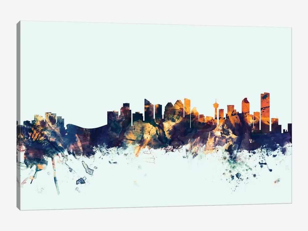 Skyline Series: Calgary, Canada On Blue by Michael Tompsett 1-piece Canvas Art Print
