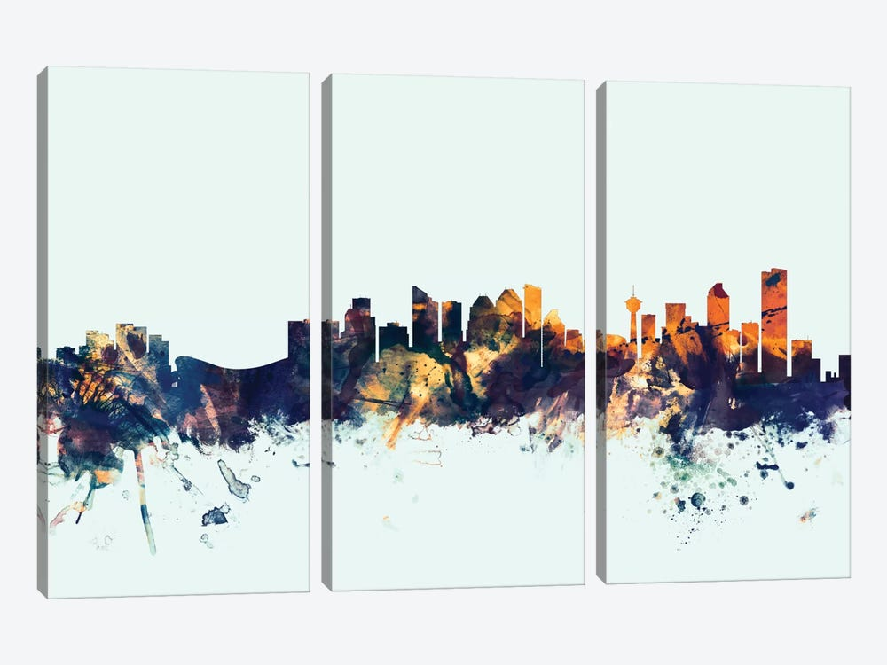 Skyline Series: Calgary, Canada On Blue by Michael Tompsett 3-piece Canvas Print