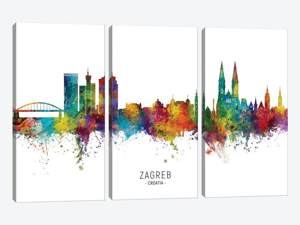 Zagreb Croatia Skyline by Michael Tompsett 3-piece Canvas Art Print