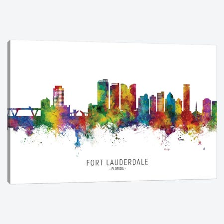 Fort Lauderdale Skyline Canvas Print #MTO2248} by Michael Tompsett Canvas Wall Art