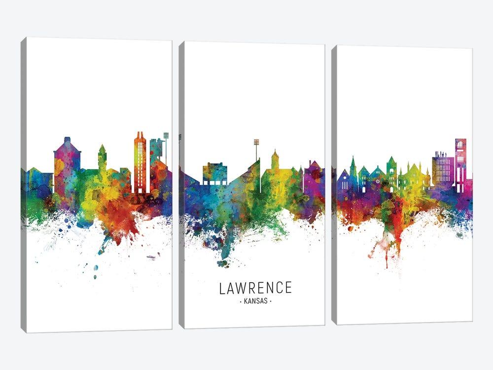 Lawrence Kansas Skyline by Michael Tompsett 3-piece Canvas Art Print