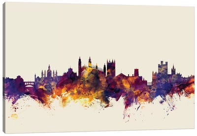 Skyline Series: Cambridge, England, United Kingdom On Beige Canvas Print #MTO224