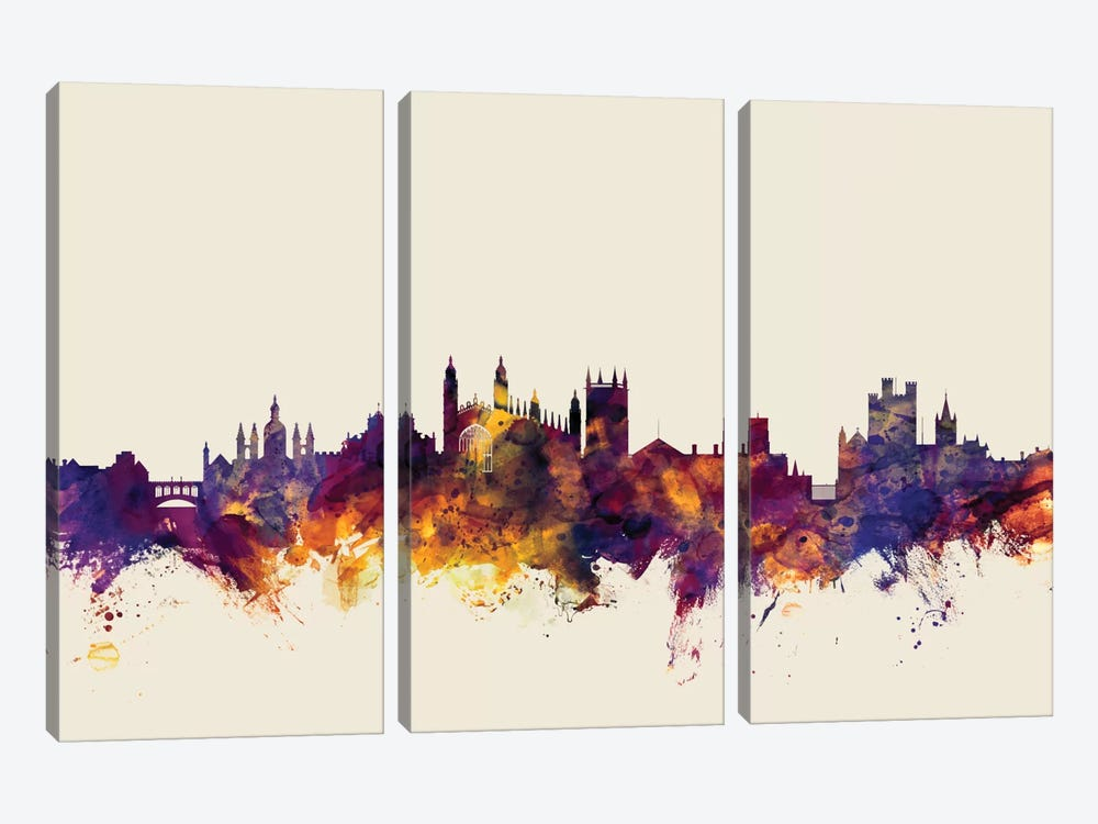 Cambridge, England, United Kingdom On Beige 3-piece Canvas Artwork