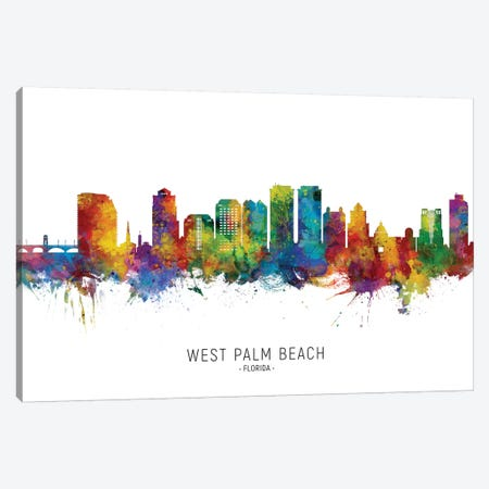 West Palm Beach Skyline Canvas Print #MTO2251} by Michael Tompsett Canvas Print
