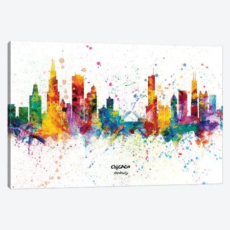 Chicago Illinois Skyline Splash Canvas Print #MTO2252} by Michael Tompsett Art Print