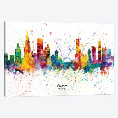Chicago Illinois Skyline Splash Canvas Print #MTO2252} by Michael Tompsett Art Print