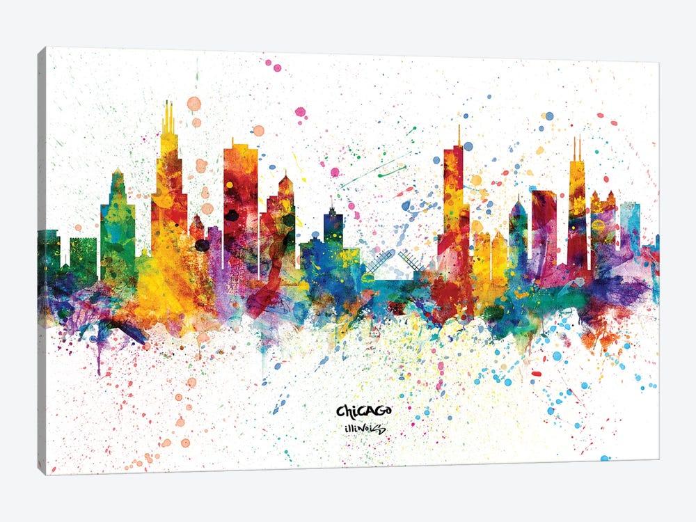 Chicago Illinois Skyline Splash by Michael Tompsett 1-piece Canvas Art Print