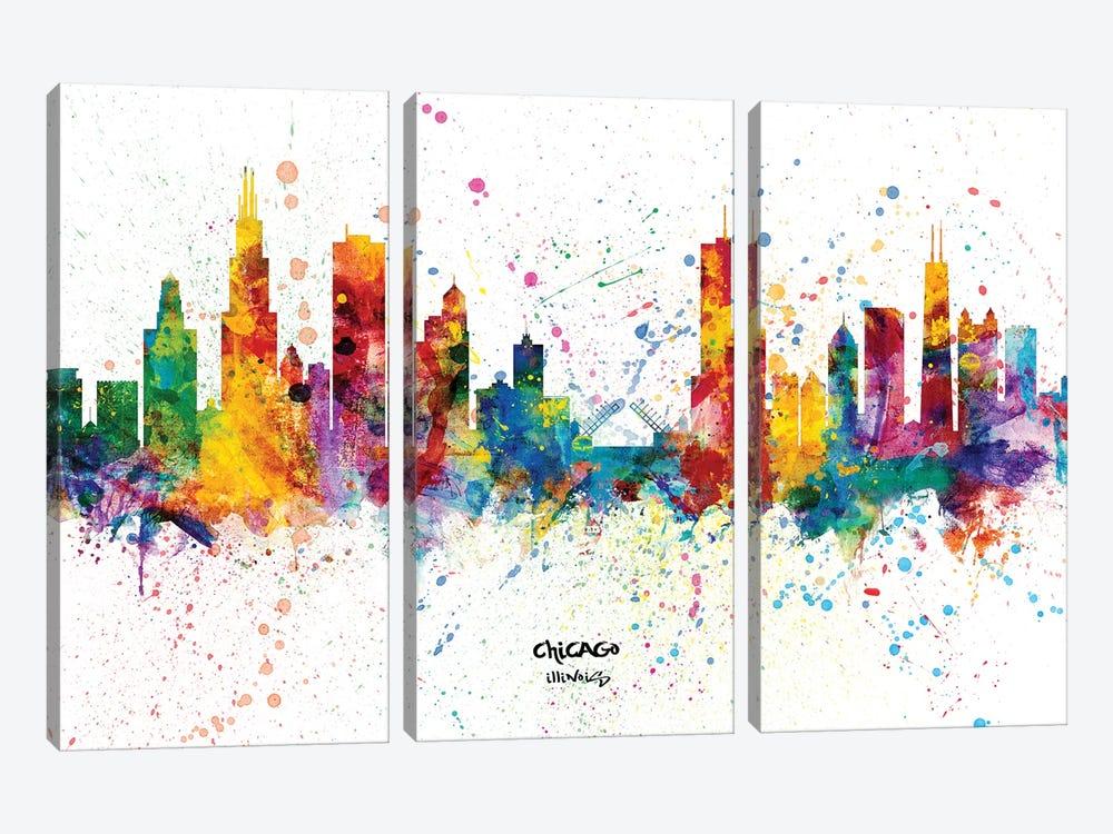 Chicago Illinois Skyline Splash by Michael Tompsett 3-piece Canvas Art Print