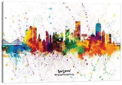 Boston Massachusetts Skyline Splash Canvas Art Print