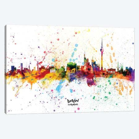 Berlin Germany Skyline Splash 3-Piece Canvas #MTO2254} by Michael Tompsett Canvas Art