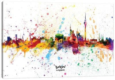 Berlin Germany Skyline Splash Canvas Art Print
