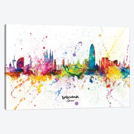Barcelona Spain Skyline Splash Canvas Print #MTO2255} by Michael Tompsett Canvas Wall Art