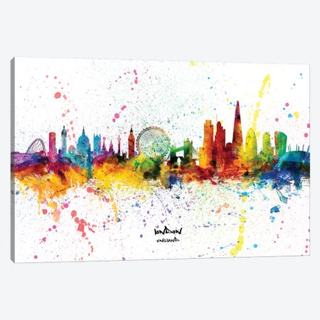 London England Skyline Splash Canvas Print #MTO2256} by Michael Tompsett Canvas Wall Art