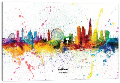 London England Skyline Splash Canvas Art Print