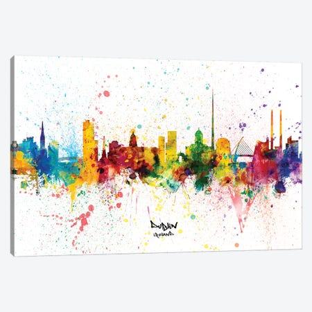 Dublin Ireland Skyline Splash Canvas Print #MTO2257} by Michael Tompsett Canvas Wall Art
