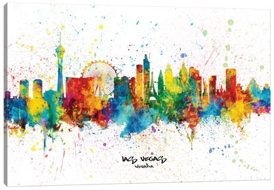 Las Vegas Nevada Skyline Splash Canvas Art Print