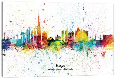 Dubai Skyline City Name Canvas Art Print