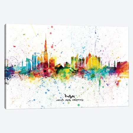 Dubai Skyline City Name Canvas Print #MTO2259} by Michael Tompsett Canvas Print