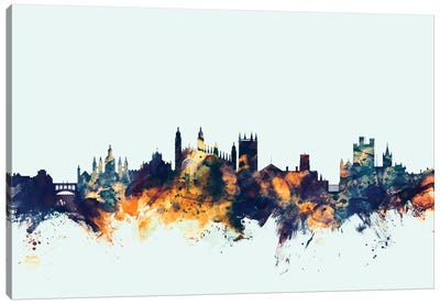 Skyline Series: Cambridge, England, United Kingdom On Blue Canvas Print #MTO225