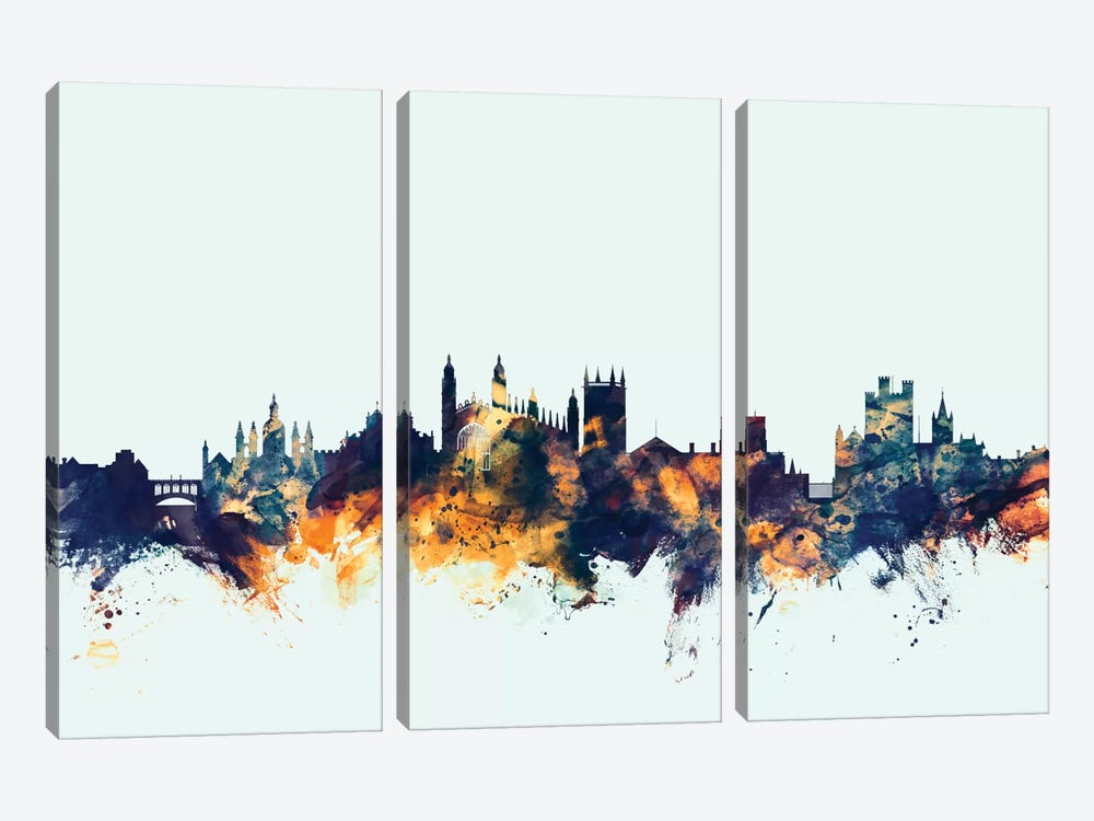 Skyline Series: Cambridge, England, United Kingdom On Blue by Michael Tompsett 3-piece Art Print