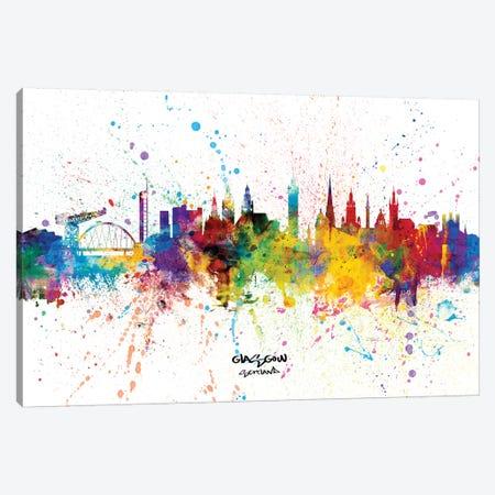 Glasgow Scotland Skyline Splash Canvas Print #MTO2260} by Michael Tompsett Canvas Artwork
