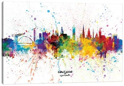 Glasgow Scotland Skyline Splash Canvas Art Print