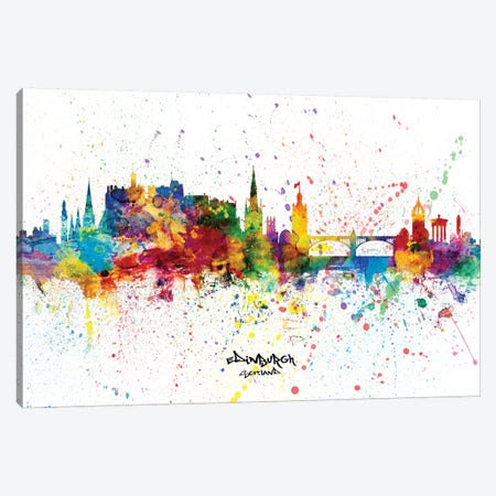 Edinburgh Scotland Skyline Splash Canvas Print #MTO2261} by Michael Tompsett Canvas Wall Art