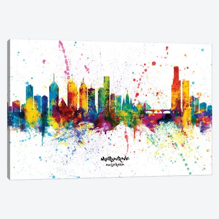 Melbourne Australia Skyline Splash Canvas Print #MTO2262} by Michael Tompsett Canvas Wall Art