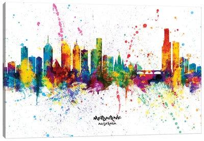 Melbourne Australia Skyline Splash Canvas Art Print