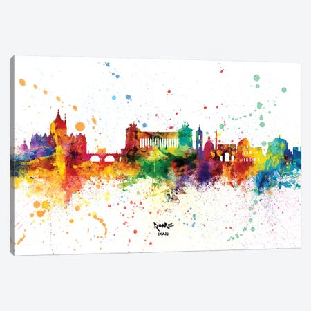 Rome Italy Skyline Splash Canvas Print #MTO2263} by Michael Tompsett Canvas Artwork
