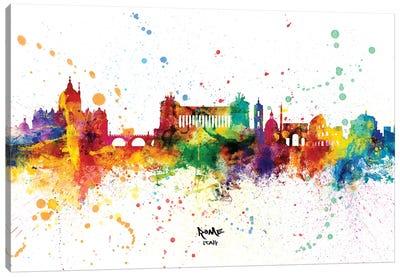 Rome Italy Skyline Splash Canvas Art Print