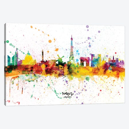 Paris France Skyline Splash Canvas Print #MTO2264} by Michael Tompsett Art Print