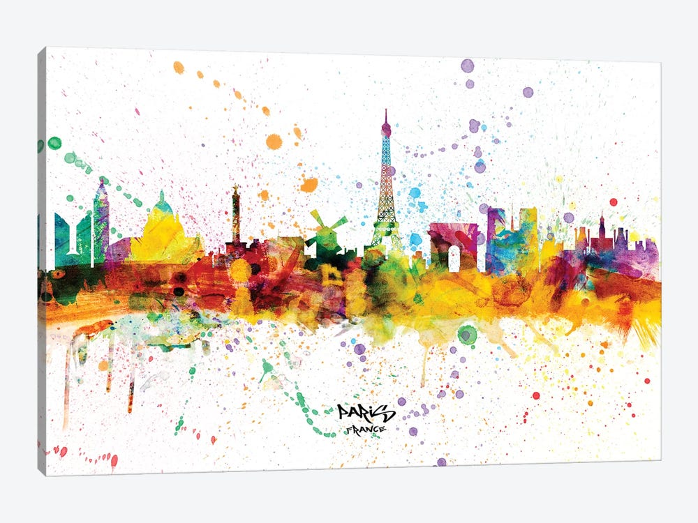Paris France Skyline Splash by Michael Tompsett 1-piece Canvas Wall Art
