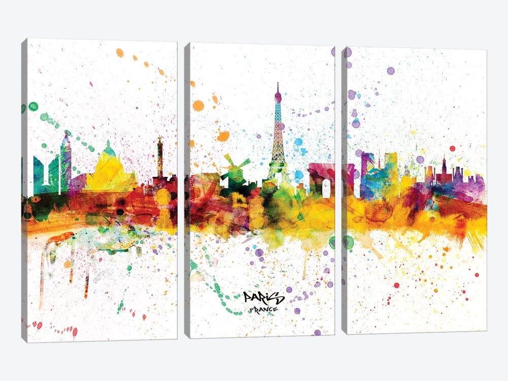 Paris France Skyline Splash by Michael Tompsett 3-piece Canvas Wall Art