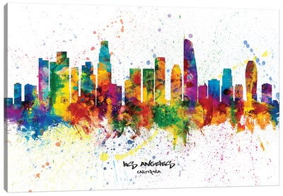 Los Angeles California Skyline Splash Canvas Art Print