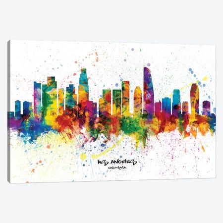Los Angeles California Skyline Splash Canvas Print #MTO2266} by Michael Tompsett Canvas Art Print
