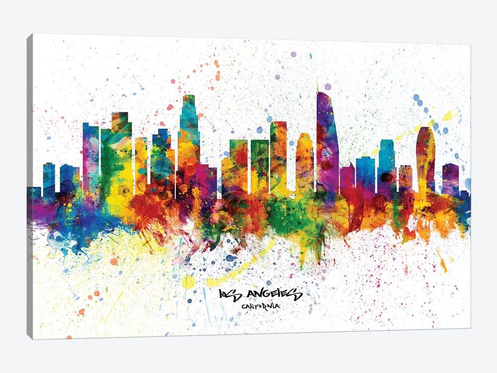 Los Angeles California Skyline Splash by Michael Tompsett 1-piece Canvas Art