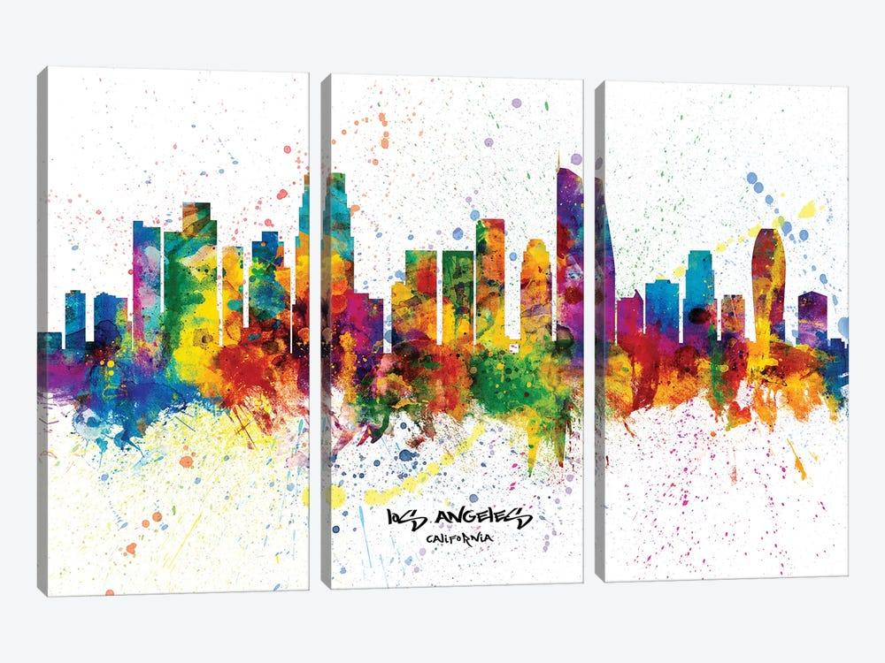 Los Angeles California Skyline Splash by Michael Tompsett 3-piece Canvas Wall Art