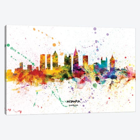 Atlanta Georgia Skyline Splash Canvas Print #MTO2267} by Michael Tompsett Canvas Print