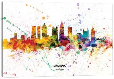 Atlanta Georgia Skyline Splash Canvas Art Print