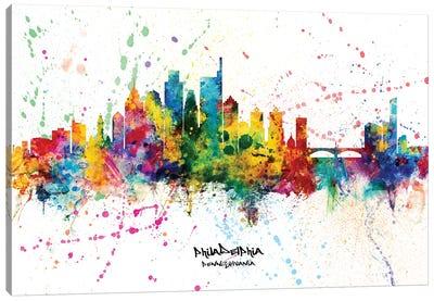 Philadelphia Pennsylvania Skyline Splash Canvas Art Print