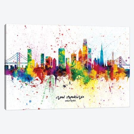 San Francisco California Skyline Splash Canvas Print #MTO2269} by Michael Tompsett Canvas Art