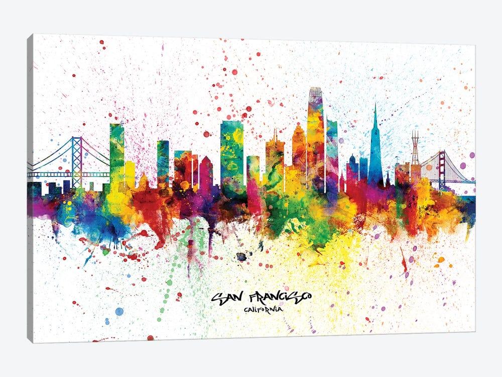 San Francisco California Skyline Splash by Michael Tompsett 1-piece Canvas Print