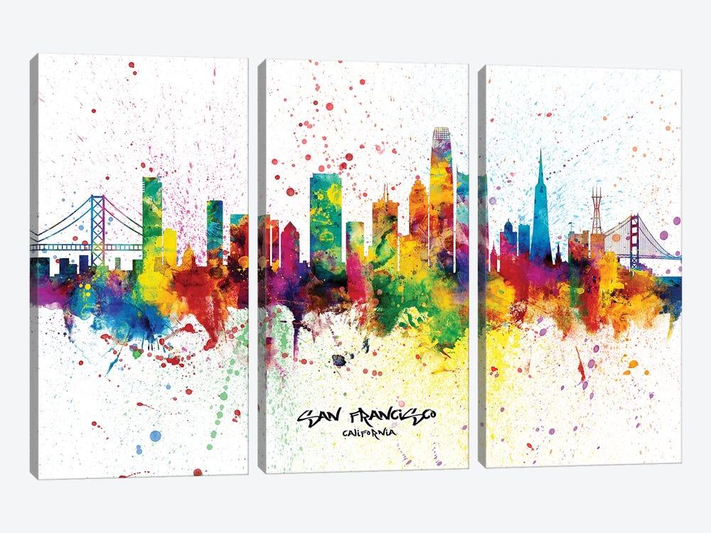 San Francisco California Skyline Splash by Michael Tompsett 3-piece Canvas Art Print