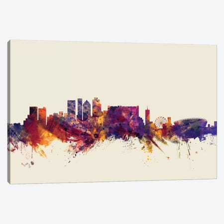 Cape Town, South Africa On Beige Canvas Print #MTO226} by Michael Tompsett Canvas Wall Art