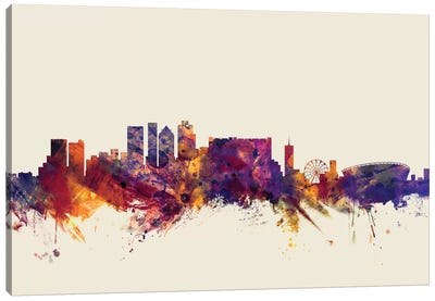 Skyline Series: Cape Town, South Africa On Beige Canvas Print #MTO226