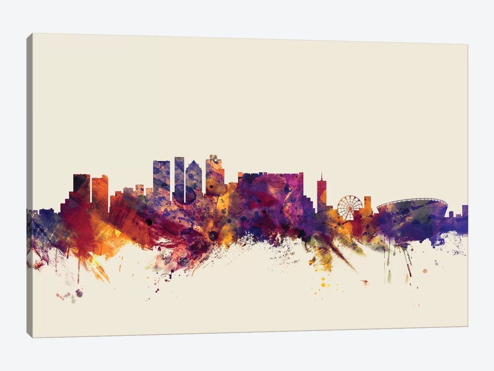 Skyline Series: Cape Town, South Africa On Beige by Michael Tompsett 1-piece Canvas Wall Art